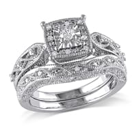 Picture of 1/5 CT Diamond TW Silver Bridal Ring Set I2:I3 - 7