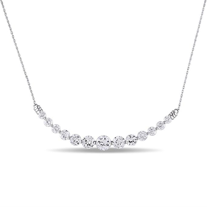 Gemstone Jewelry - 5 07 CT Created White Sapphire Necklace