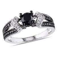 Engagement Ring Collection Jewelry - 1 CT Black and White