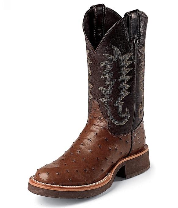 d3b37f579e2 Justin Boots - Men's Antique Brown Full Quill Ostrich Gov't ...