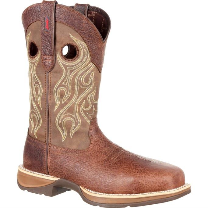 Rebel by Durango Waterproof Western Boot Rolled shank area Distressed full-grain